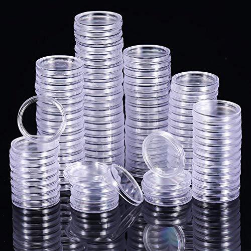 DILISEN 100 Piezas de Cápsulas de Monedas Transparente Funda de Moneda Redondo Materiales de Collección de Monedas (25 mm)