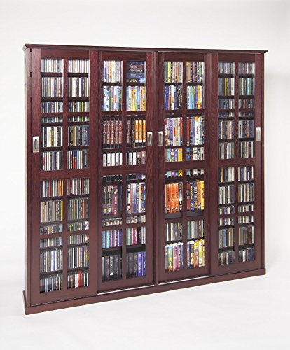 Hot Sale Leslie Dame MS-1400DC Mission Style Multimedia Storage Cabinet with Sliding Glass Doors, Cherry
