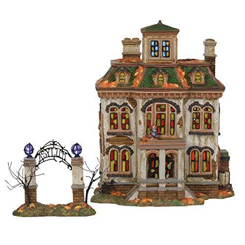 Department56 Snow Village Halloween Last Laugh Asylum Lit Building, 10.75', Multicolor