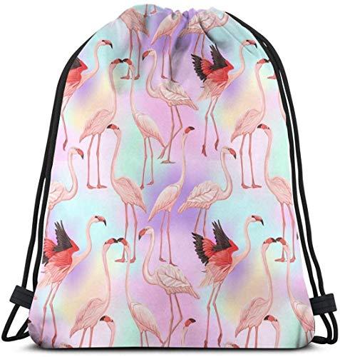 UK Flamingo on Vanille Sac à dos avec cordon de serrage, sac à dos de gym, danse de voyage, sac à bandoulière cadeau d'anniversaire 36 x 43 cm