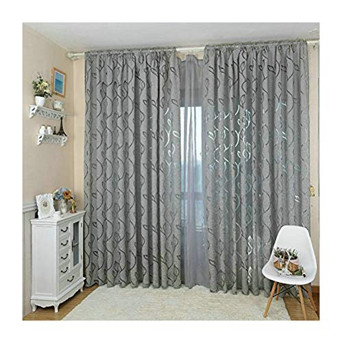 """Nova Window Curtain Blackout Jacquard Curtains for Bedroom Blind Window Used on Rod Pocket 39""""x78"""" White/Black/Grey/Red/Coffee Color 1 Piece Price (W39 xL78, 1pcs, Grey)"""