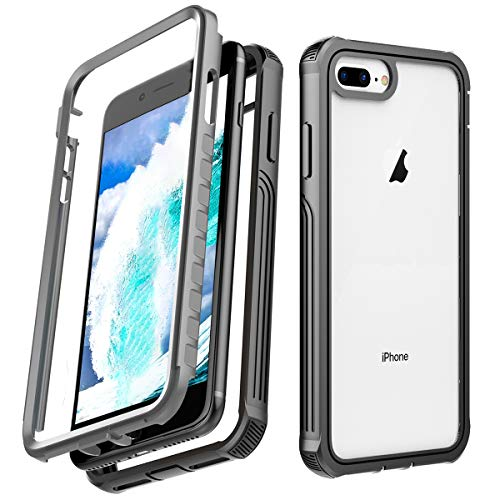 AICase Compatible with Apple iPhone 6 Plus/6s Plus/7 Plus/8 Plus Case Built-in Screen Protector Full Body Protect Support Wireless Charging, Shock-Absorption, Rugged Clear Hybrid Bumper Case