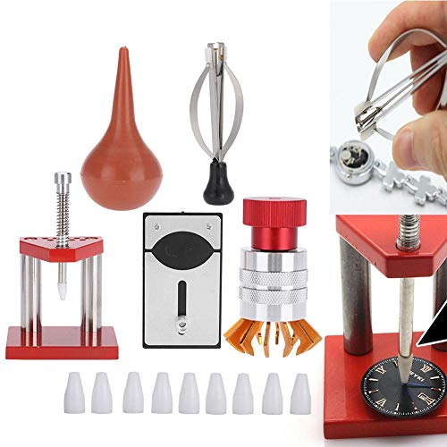 Herramienta de reloj, 5 Pcs Kit de reparación de relojes Soplador de aire con polvo de caucho Reloj Parte posterior del abridor de la mano Herramienta de ajuste manual