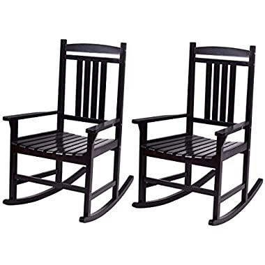 Giantex Set of 2 Wood Rocking Chair Outdoor Indoor Patio Porch Rocker for Porch, Patio, Living Room, Black