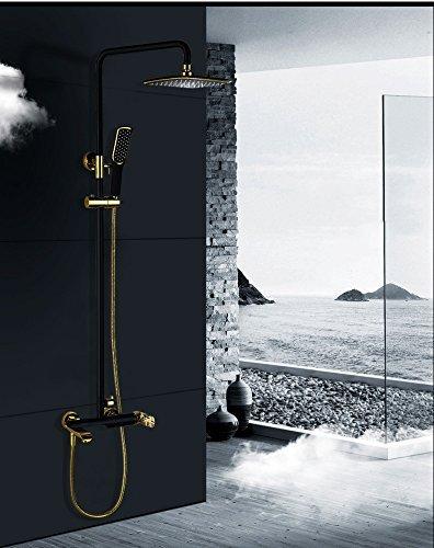 Thermostatischer Duschhahn Kupfer Gold Duschset in die Wand Chromstange Dusche Kupfer Duschset