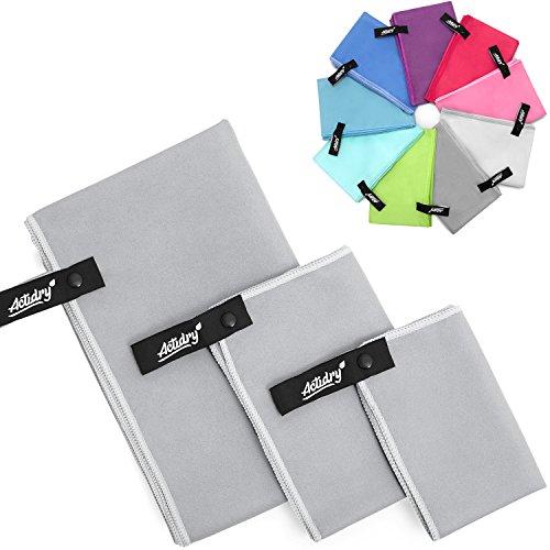 ACTiDRY Set de toallas de microfibra ActiDry 3+1 (70x140, 40x60, 30x40 cm + bolsa) - ligero y absorbente - 9 colores - ideal para deportes y actividades al aire libre