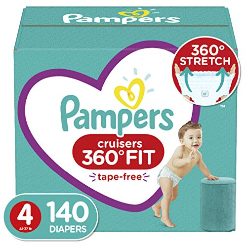 Diapers Size 4, 140 Count - Pampers Pull On Cruisers 360 degree Fit Disposable Baby Diapers with Stretchy Waistband, ONE MONTH SUPPLY (Packaging May Vary)