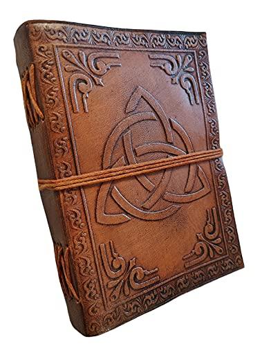 Kooly Zen Triquetra - Cuaderno de notas con cuaderno de piel auténtica, vintage, marrón claro, 12,50 cm x 17,50 cm, papel reciclado premium, 200 páginas