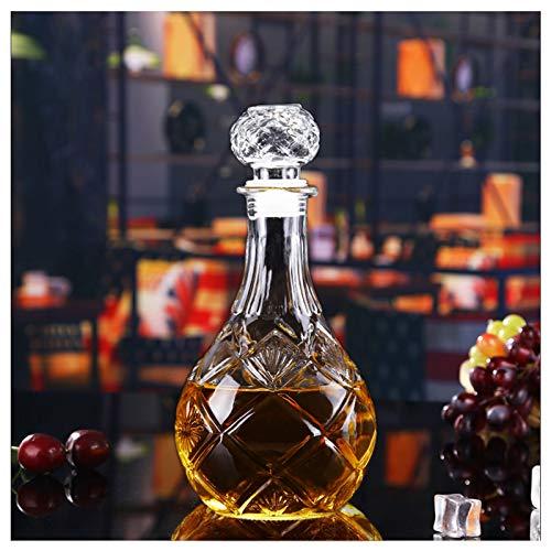 SHANGZHI Karaffe Whisky Glaskaraffe mit Deckel und Gravur |Weinkaraffe|Kristall Whiskey Karaffe Bleifrei 500ml-1000ml Optional -für Whisky Likör Rotwein Dekanter