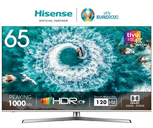 HISENSE H65U8BE Smart TV ULED Ultra HD 4K 65', Dolby Vision HDR 1000, Dolby Atmos, Unibody Design, Ultra Dimming, Tuner DVB-T2/S2 HEVC Main10 [Esclusiva Amazon - 2019]