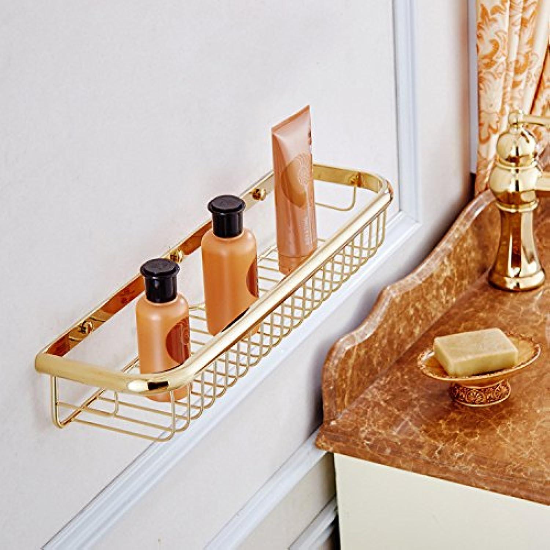 European-Style Bathroom Hardware Accessories Copper 45cm Long Square Zirconium Single-Layer Basket Storage Rack