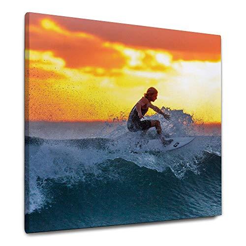 ART VVIES Für Hauptdekorationen Mit Haken Wandbild Wunderbare Leinwand Surfen Sonnenuntergang Meer Java Island Indonesien Wasser 24x24 Zoll Holz Eingerahmt