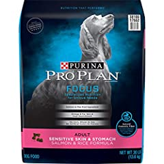 One (1) 30 lb. Bag - Purina Pro Plan High Protein, Sensitive Skin & Stomach Dry Dog Food, Salmon & Rice Formula Real salmon is the #1 ingredient Prebiotic fiber promotes digestive health to support your dog's total well-being Contains no corn, wheat ...