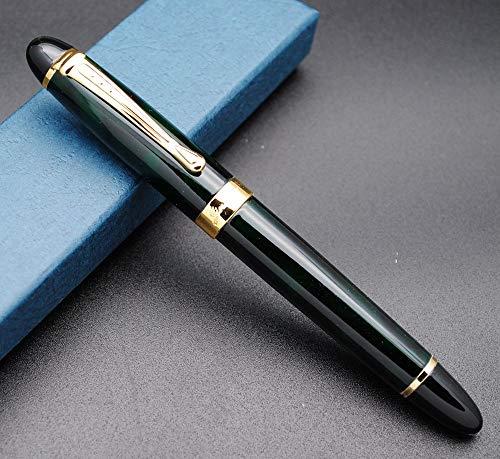 JINHAO X450 - Pluma estilográfica (pluma M, diseño de flores de hielo verdes, punta M)