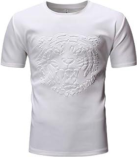 YYG Men Crew Neck Short Sleeve Tiger Summer Trendy Blouse Tunic Tops