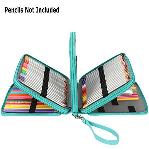 Soucolor 168 Slots Pencil Case PU Leather Handy Pencil Wrap with Zipper Super Large Capacity Pen Bag for Prismacolor Premier Colored Pencils, Crayola Colored Pencils, Marco Pens (Green)