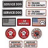 Service Dog Vest Patches (8 Designs, 12 Pack)