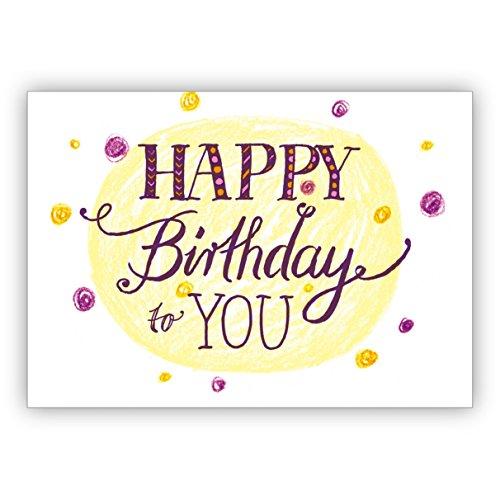 Vrolijke, kleurrijke verjaardagskaart met stippen en hand Lettering: Happy Birthday to you • mooie wenskaarten voor het verjaardagskind met enveloppen zakelijk & privé 1 Grußkarte