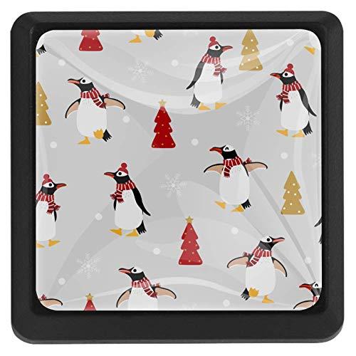 Schattige pinguïn in de winter kostuum vierkante knoppen Trekken handvatten kast meubelen deur lade knoppen Trekken handvatten 3 Pack 1.45
