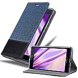 Cadorabo Funda Libro para Huawei P7 en Azul Oscuro Negro - Cubierta Proteccíon con Cierre Magnético, Tarjetero y Función de Suporte - Etui Case Cover Carcasa