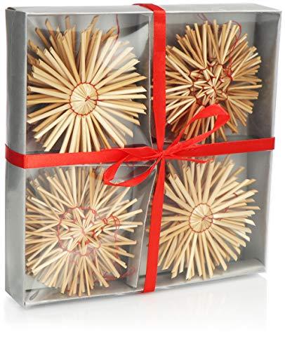 com-four® 24-teiliges Strohsterne Set - Stroh-Anhänger - Weihnachtsbaum-Schmuck aus Stroh - Christbaum-Behang - Weihnachtsdekoration - Ø 10 cm