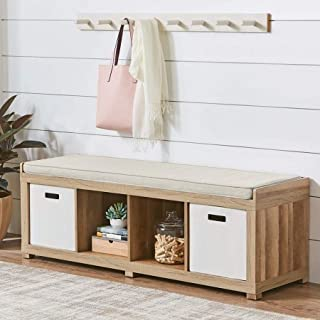 Better Homes and Gardens 4-Cube Storage Organizer Bench - Weathered (Weathered) (Weathered)
