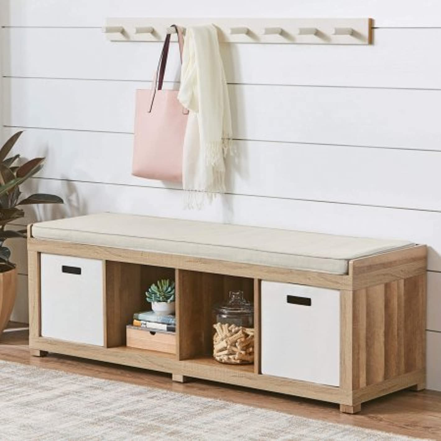 Better Homes and Gardens 4-Cube Storage Organizer Bench (Weathered)