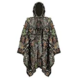 OVTSPO Ghillie Suit Turkey Hunting Jacket Vest Gear 3D Camo Leaf for Paintball Sniper Airsoft Coveralls Paintball Pants Ww2 Net Tent Poncho Props Accessories for Outdoor Camp Kids Adults (M Cape)