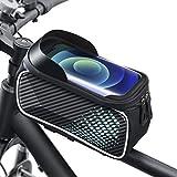Cocoda Borsa Telaio Bici, Borsa Manubrio Bici con Ampio Spazio da 1.6L, Nastro Riflettente per Guida Notturna, Porta Cellulare da Bici Impermeabile con TPU Touch Screen per Telefoni sotto 6.7''