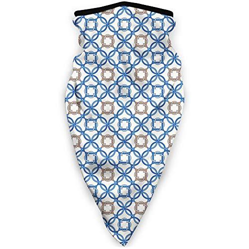 MLNHY - Funda protectora para la cara a prueba de viento, diseño inspirado en los antiguos motivos holandeses de azulejos antiguos y holandeses, decoración facial impresa para todo el mundo