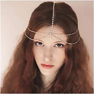 Campsis Gold Vintage Head Chain Beaded Headpiece Boho Fashion Indian Egyptian Chains Hair Jewelry for Women and Girls