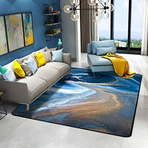 Abstract Blue Sea Water White Beach Gold Short Crystal Velvet tapijt in de woonkamer, binnen- en buitenruimtes, Play mat, Yoga mat, multifunctionele, Antislip en wasbaar jilisay (Size : 60x90cm)