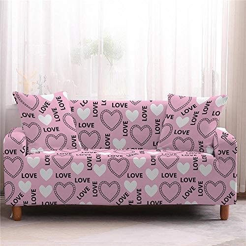 Protector Sofá Ajustables Love Heart Tight All-Inclusive Wrap Fundas De Sofá Funda De Sofá Fundas De Sofá De 1 a 4 Plazas Fundas De 2 Plazas Color2