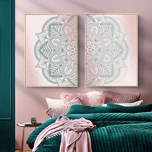 ZDFDC Marokkanische Mandala Boho Leinwand Wandkunst Malerei Poster Bild für Moderne Wohnzimmer Schlafzimmer Yoga Raum Home Decoration-30x45cmx2 ohne Rahmen
