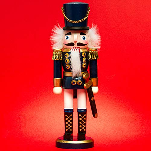 SIKORA NK-I Deko Nussknacker Figur aus Holz Verschiedene Motive 3 Größen, Größe:Höhe ca. 28 cm, Farbe/Modell:Soldat blau Weiss