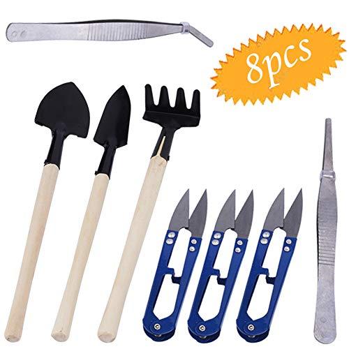 bluesees Lot de 8 mini outils de jardin pour bonsaï avec sécateur, mini râteau, mini spatule, pince à épiler, coupe-bourgeons et feuilles