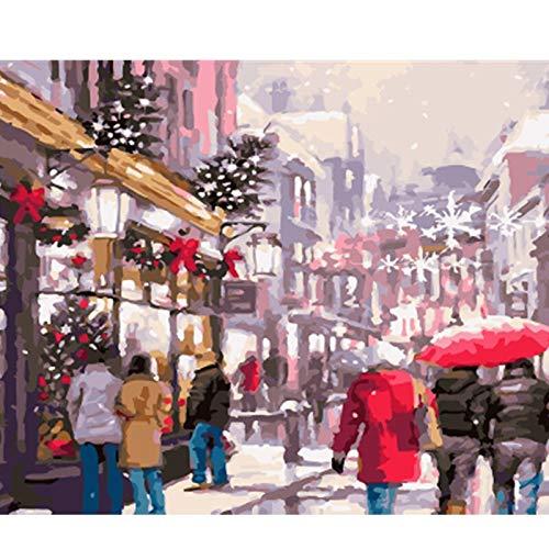 Puzzle 1000 Piezas bulliciosas Calles de la Navidad Puzzle 1000 Piezas paisajes Juego de Habilidad para Toda la Familia, Colorido Juego de ubicación.50x75cm(20x30inch)