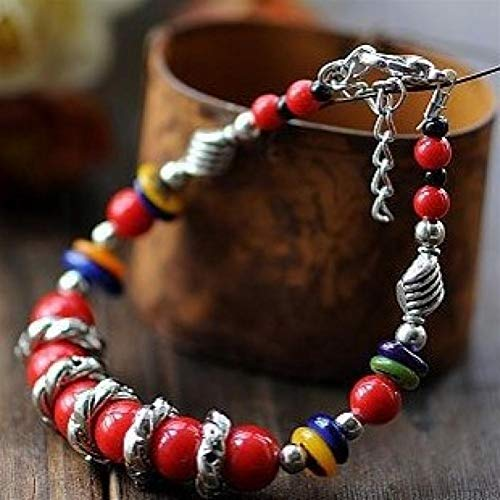 Red And Blue Beads Candy-colored Shell Wood Lily Tibetan Silver Multi-element Bracelet Ethnic Jewelry yangain