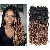 AliRobam18Inch Wavy Faux Locs Crochet Braids 6packs 24Strands Ombre kanekalon Braiding Hair Extensions Honey Blonde Goddess Dreadlocs For African Women (Black/dark brown/light brown)