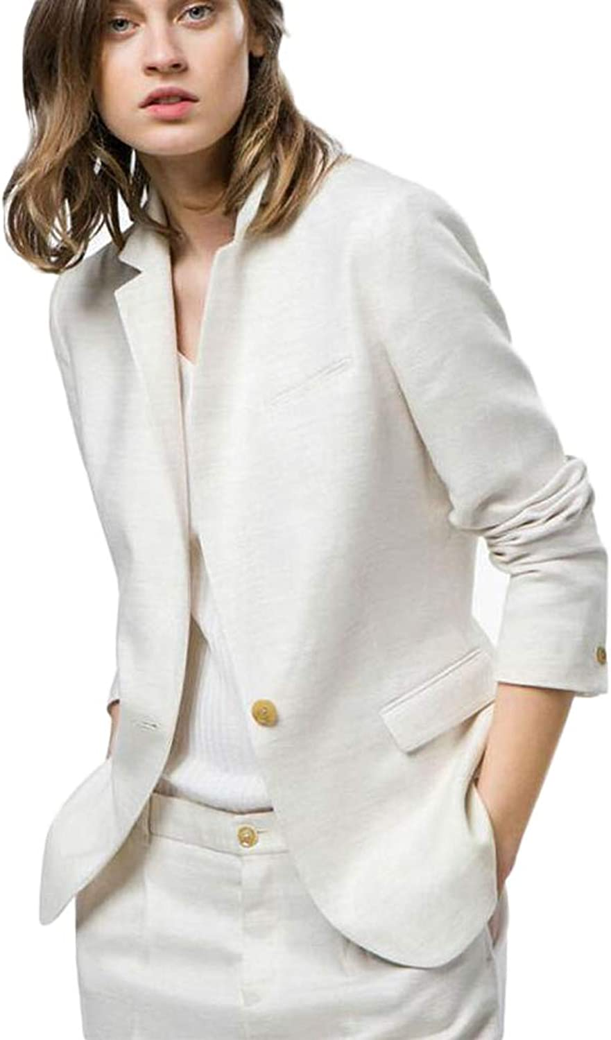 TOPG Womens White Suit Business Work Suits 2 Pieces Notch Lapel Suits One Button Wedding Suits