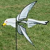 CIM Campanas de Viento - 5-Wing Seagull - aerogenerador: Ø 56cm, diseño: 67cm x 11cm, Altura Total: 110cm - Resistente a los Rayos UV y a la Intemperie Incl. Varilla de Fibra de Vidrio