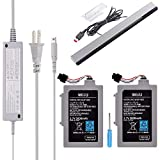 TFSeven 2Pcs Rechargeable Wii U GamePad 3600mAh Replacement Battery + AC Adapter Wall Travel Power Supply + Wired Infrared IR Ray Motion Sensor Bar Compatible For Wii U Gamepad