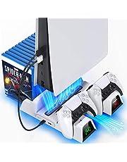 OIVO PS5 Ständer mit Kühler und PS5 Controller Ladestation für Sony Playstation 5 PS5-Konsole, PS5 Halterung mit Kühlung, PS5 Standfuß mit Lüfter, 12 Spiele-Aufbewahrung und 2-in-1-Kabel