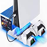 OIVO PS5 Stand with Suction Cooling Fan and Dual Controller Charger Station for Playstation 5 PS5 Console, Suction Cooling Fan with Charging Dock Station and 12 Game Slots- 2 IN1 Cable Included
