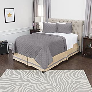 """Rizzy Home Hand Quilted 2"""" Block Quilt, Solid Patterned, OVSBQ4143GY001692, Grey, King"""