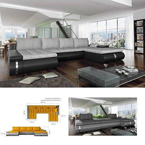 BMF FADO - Sofá cama grande en forma de U de piel sintética o tela de cualquier color, con almacenamiento de cama, 385 cm x 164 cm x 216 cm