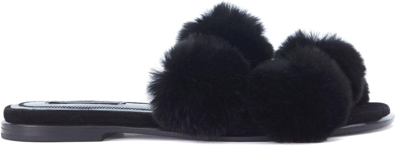 Alexander Wang Woman's Ava Black Sandals with Pompom 39(EU) - 9(US) Black