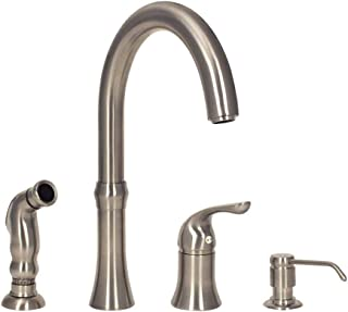 MR Direct 710-BN 4 Hole Kitchen Faucet in Brushed Nickel