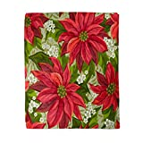 rouihot 50x60 Inches Throw Blanket Red Christmas Wonderful Poinsettia Pattern Flower Pointsettia Victorian Pointsetta Warm Cozy Print Flannel Home Decor Comfortable Blanket for Couch Sofa Bed