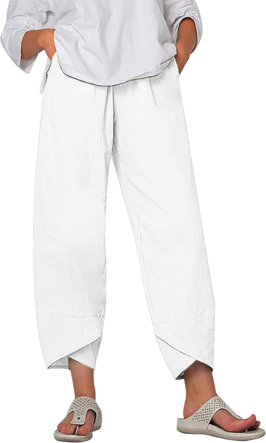 TZW Womens Casual Ranking Spasm price TOP3 Elastic High Waist Cotton St Pants Loose Linen
